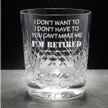 Retirement Whisky Glass, PERSONALISED, ref CWRG